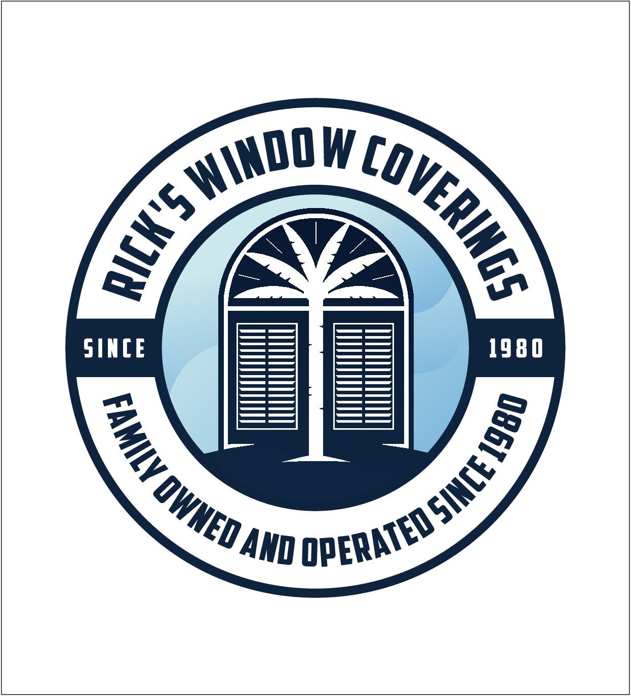 Tropical, beach-themed logo for Florida window treatment company