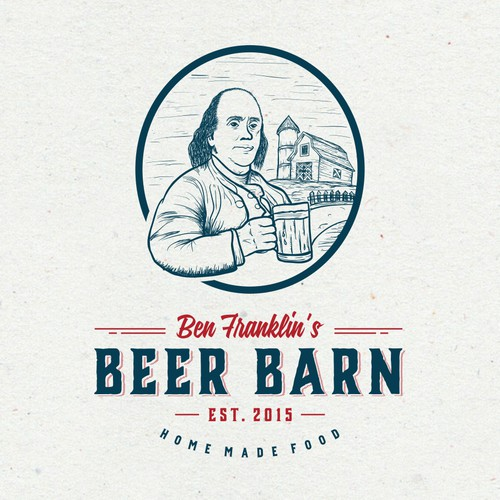 "create an ""eye catching"" logo for Ben Franklin's Beer Barn"