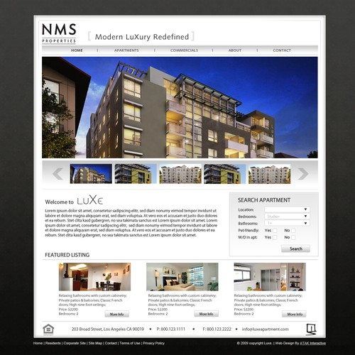 Website Design for Hip Modern Luxury Apartments in LA area