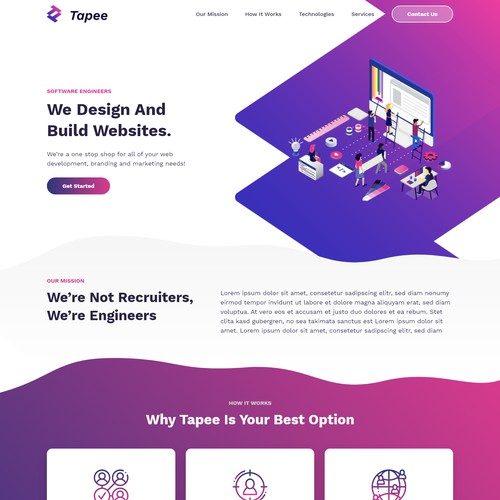 Home Page For A Software Engineer Team