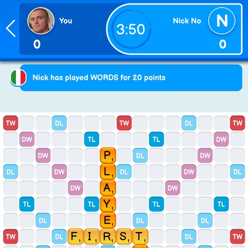 Game screen design for a top ranked word game