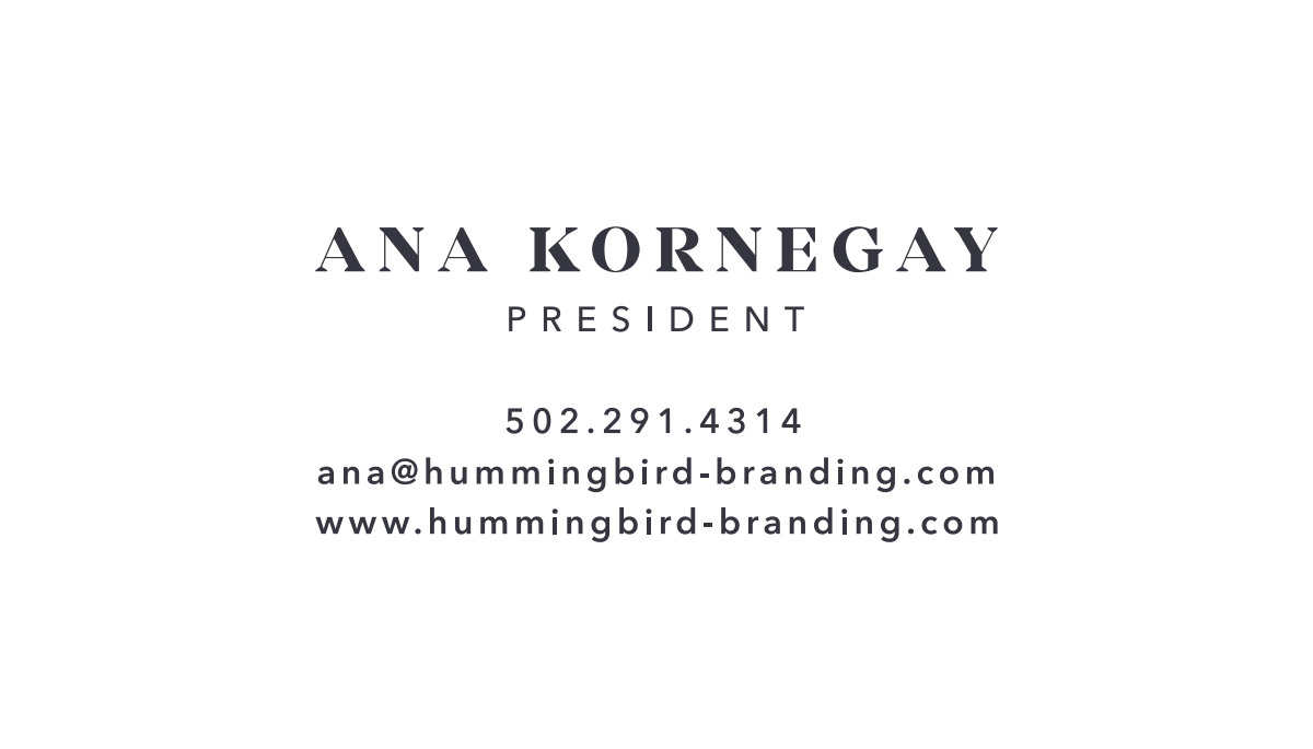 Hummingbird branding business card