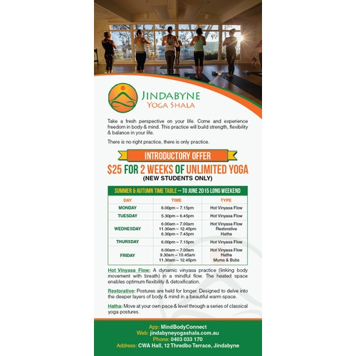 create an inviting flyer and time table for yoga studio