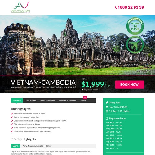 Vietnam tour promotion landing page that converts to sales
