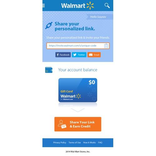Website for Walmart's Invite a Friend program