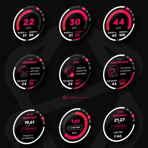 Simple Modern UI for Electric Skateboarding App