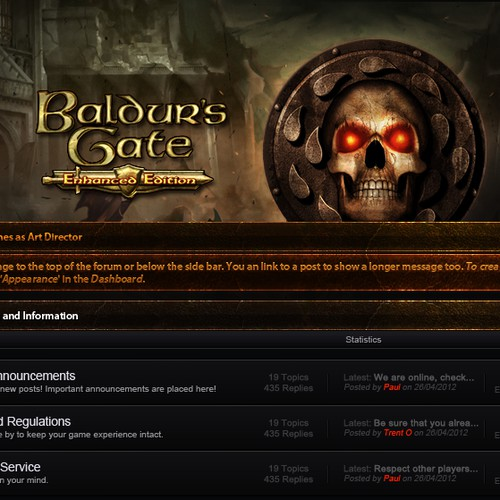 Baldur's Gate forum layout