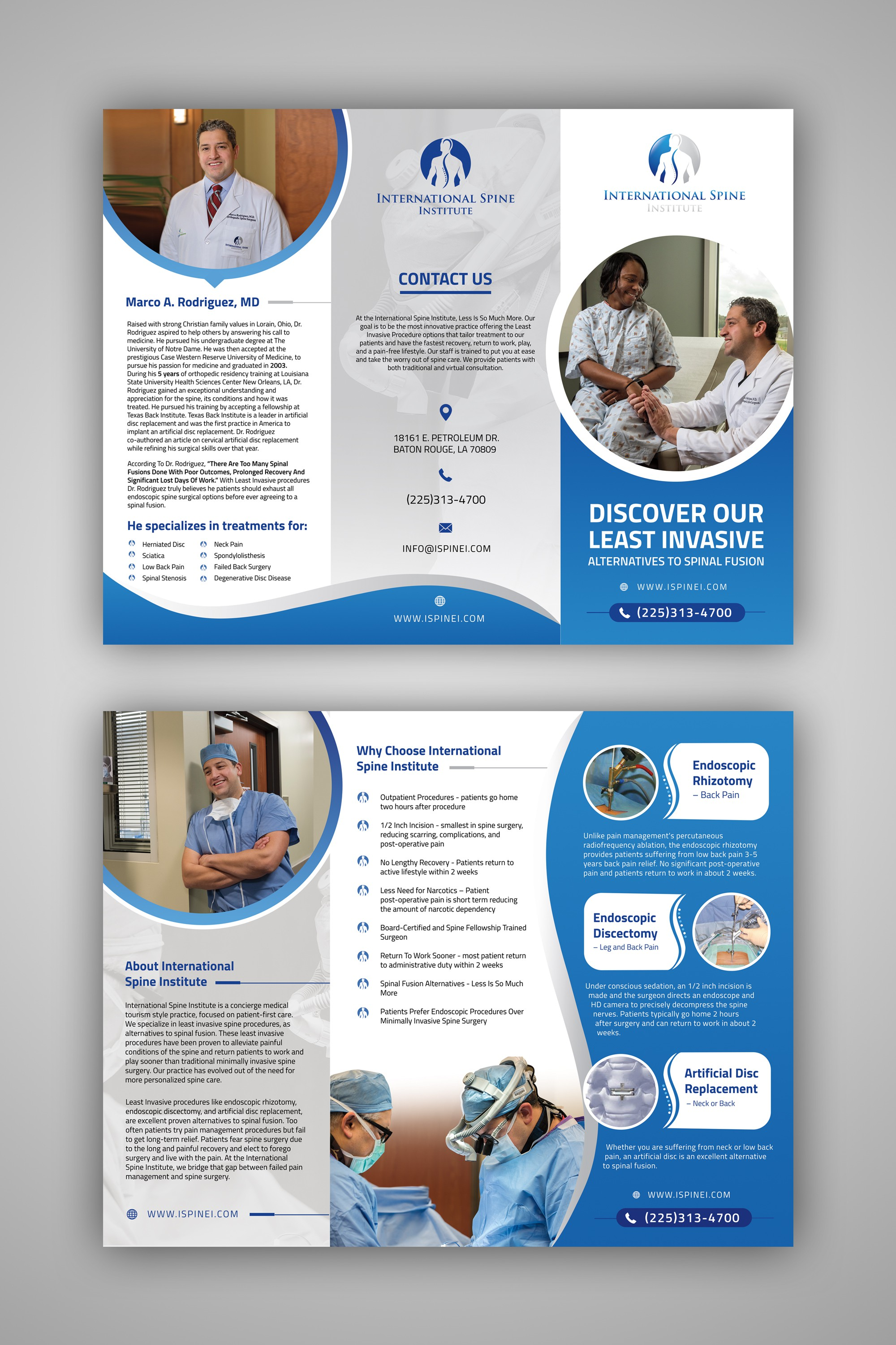 Design a innovative spine surgery practice trifold brochure