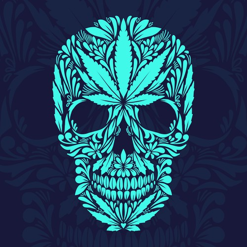 marijuana skull decorative vector