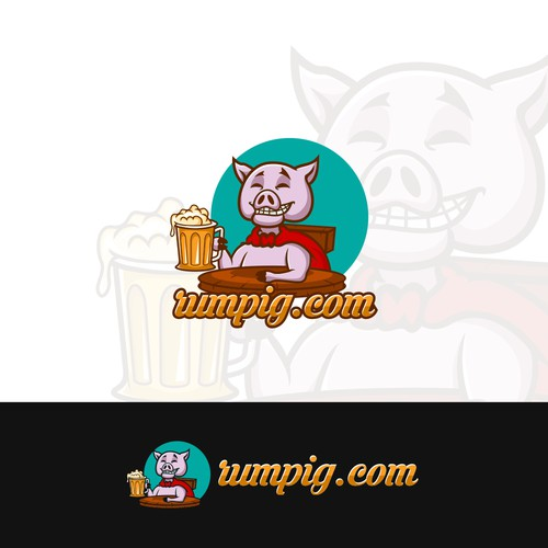 Design a 'cheeky pig' logo for rumpig.com