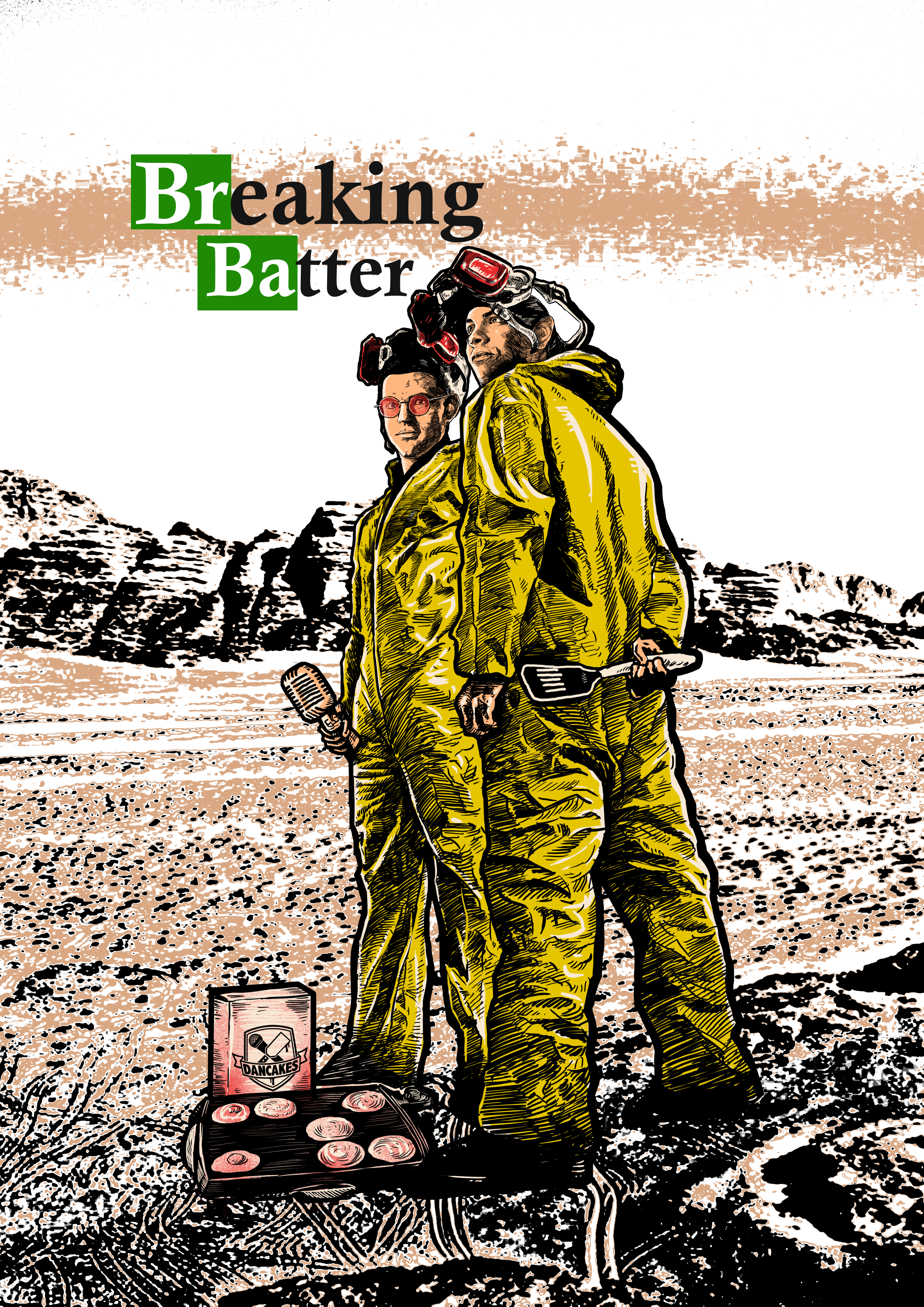 Create a clever Breaking Bad Parody image for Pancake Artists