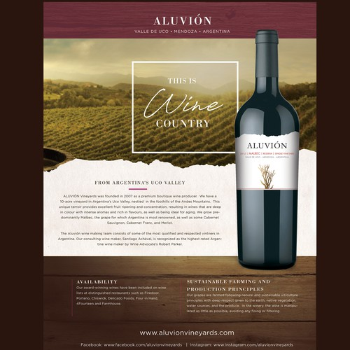 Flyer for Aluvion Wines