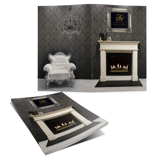 Create a stunning brochure front cover for Findley House Fireplaces