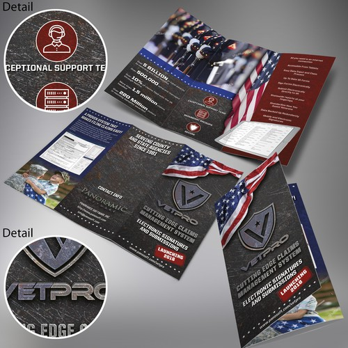 Tri-fold brochure design for a VetPro