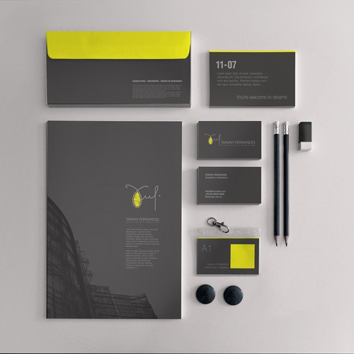 Logo and Business Card For The Architect Tainah Fernandes (TF)