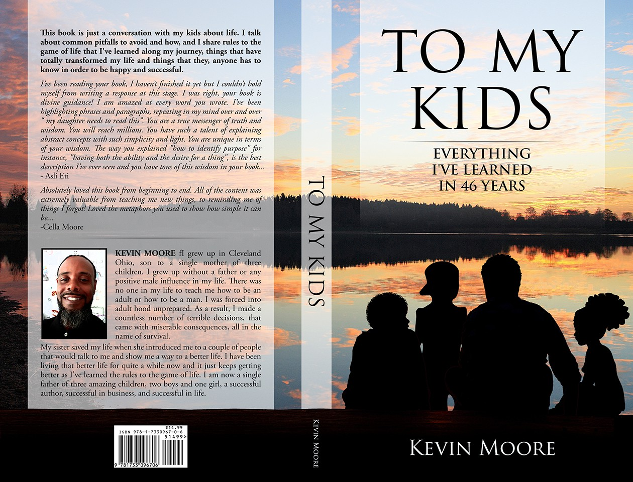 "Design a book cover for, ""To my kids; everything I've learned in 46 years."""