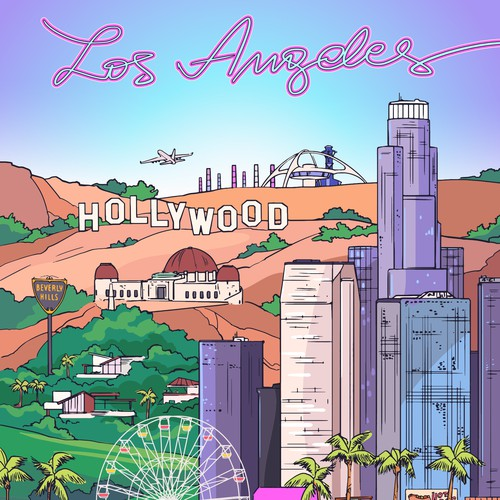 Los Angeles Luggage Illustration - VECTOR