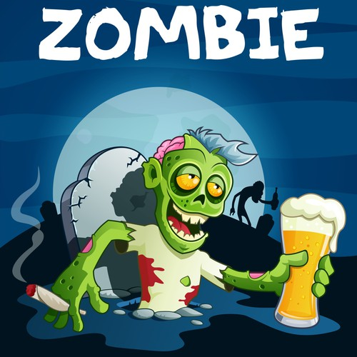 Drunk & Drugged Zombie illustration