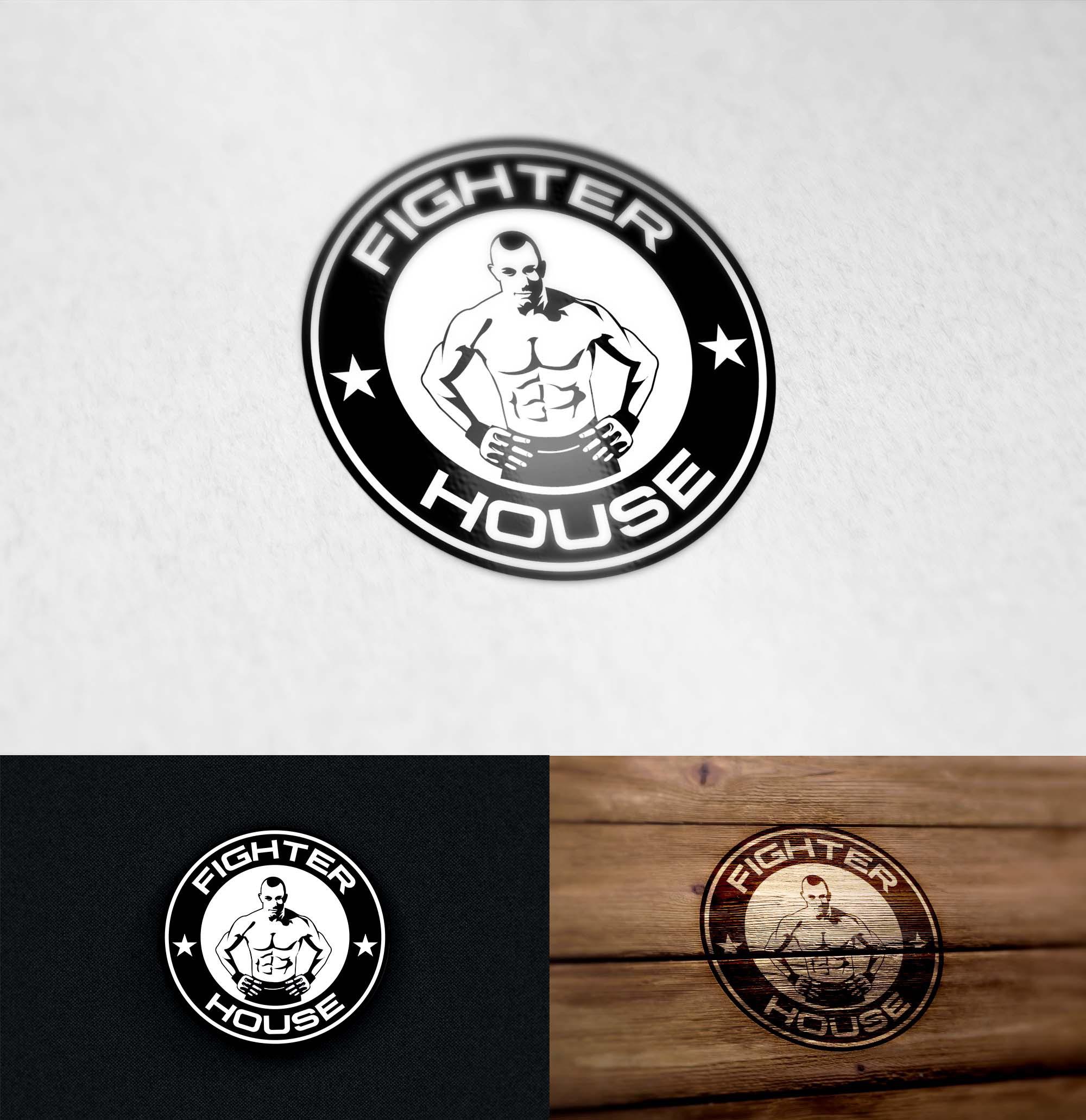 Create a capturing, bold logo for  fight shop Fighterhouse.ru