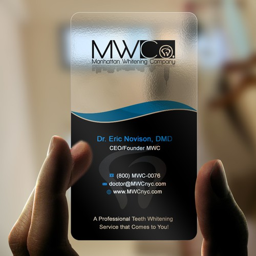 Create a business card design for a professional teeth whitening dental company- Manhattan Whitening Company