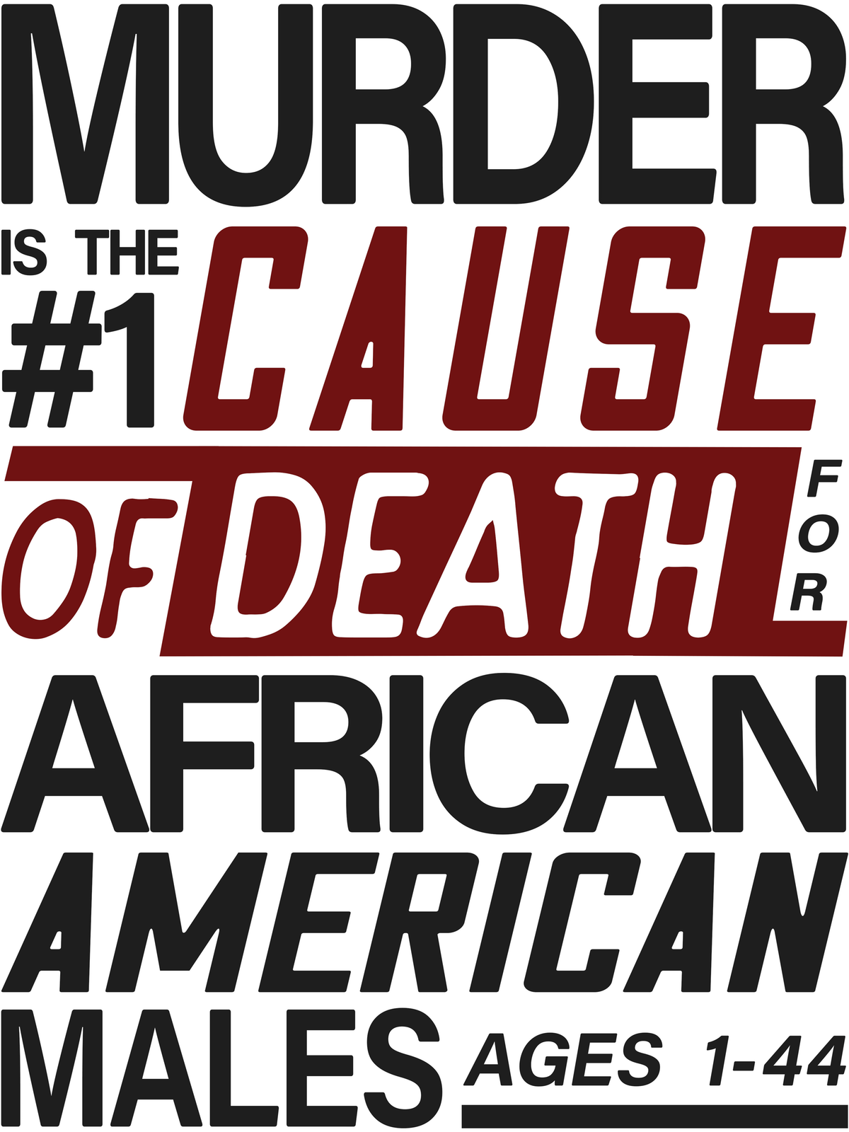 The #1 cause of death for  African-American males ages 1–44 is murder