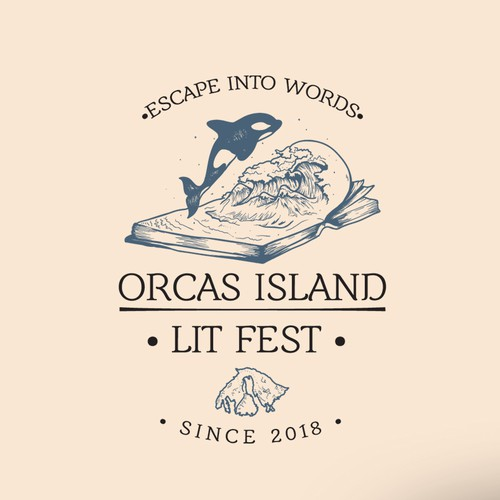 Hand Drawn Organic Orca Island Literature Festival Logo Design
