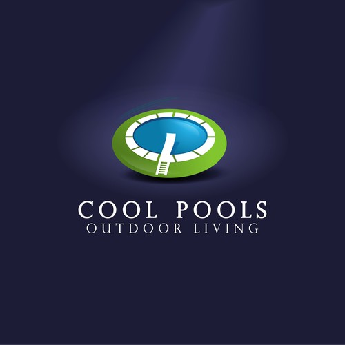 Create a captivating modern logo for a swimming pool service company, Cool Pools Outdoor Living