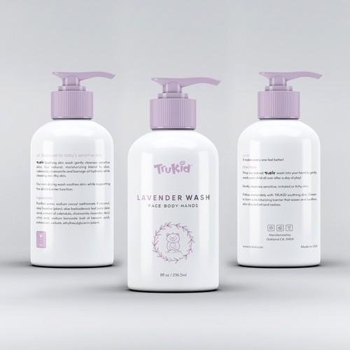 Trukid Lavender Wash Product Label Design Concept