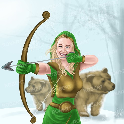 Illustration of a lady archer with 2 Bears