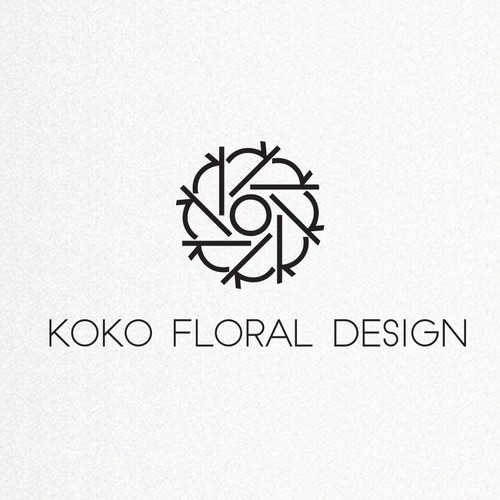 花卉设计师(Koko)的现代黑白商标