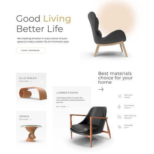 Web UI Design for Furniture & Home Decor Website