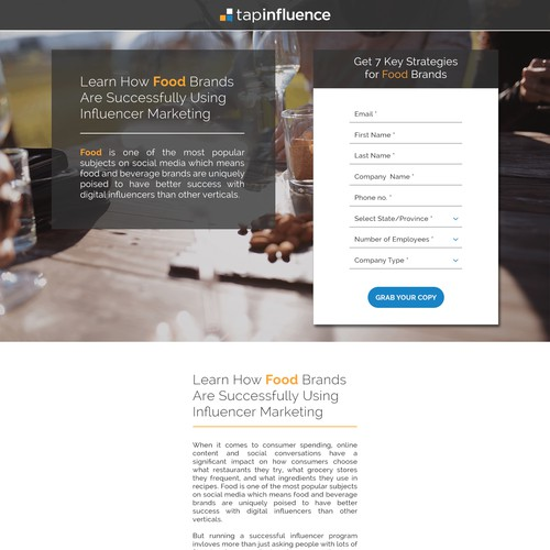 Landing page for tapinfluence
