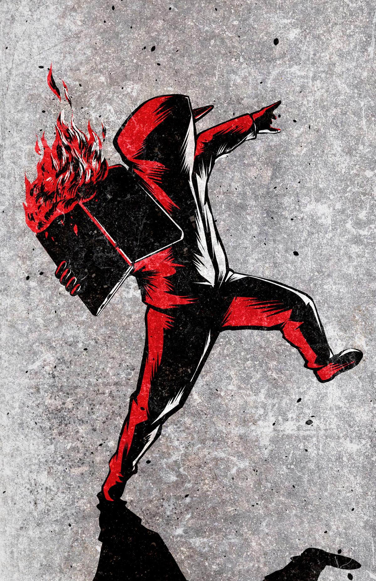A guy throwing flaming laptop