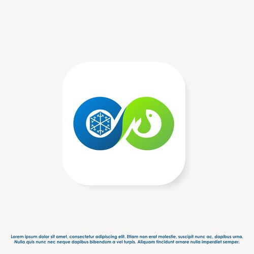Clean app icon design for FoodLink (a frezee and sea food distributor).