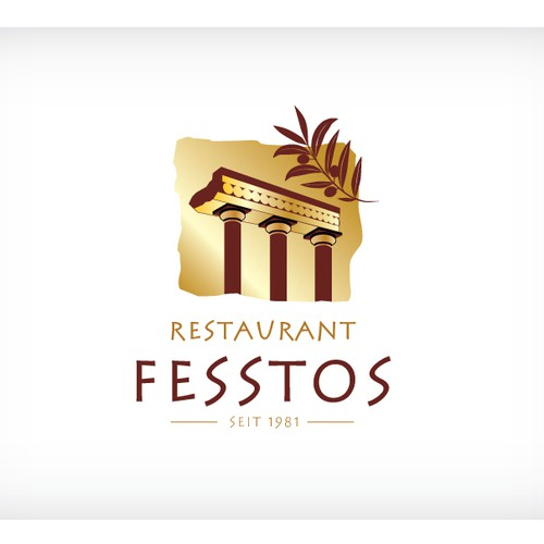 Restaurant Fesstos needed modern Cretan Mediterranean logo.
