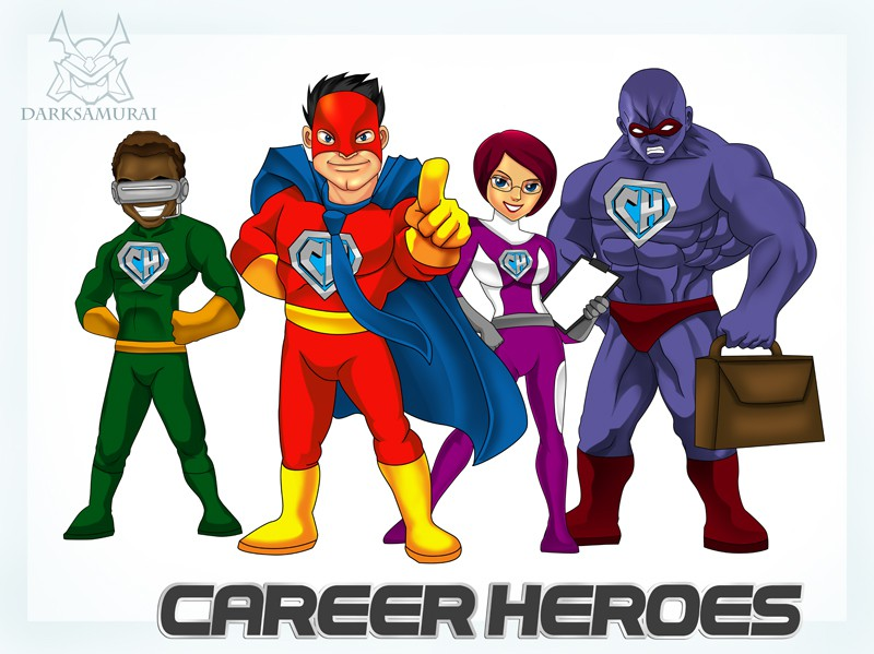 Create Hero Character Illustrations & Wordmark for CareerHeroes.com