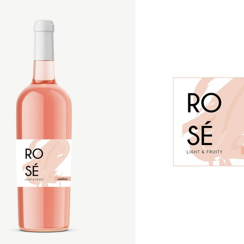 Minimal and Modern Rosé Label Design
