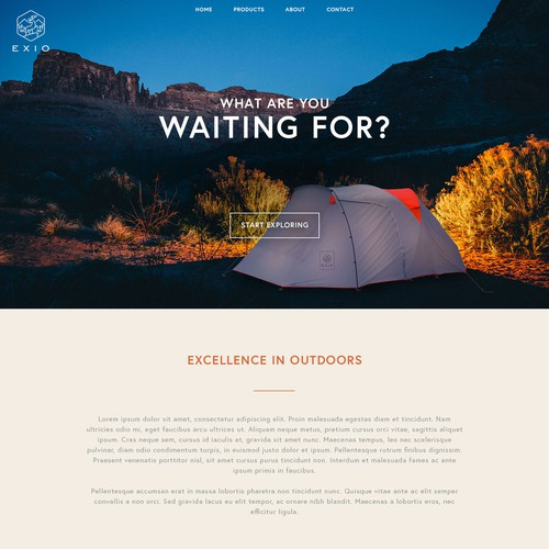 Website design concept for an outdoor company