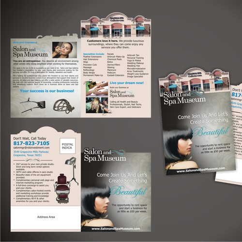direct mail piece for salon and spa space rental