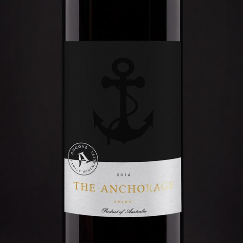 "A modern wine label for ""The Anchorage"" winery."