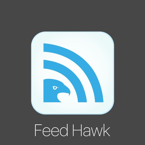 Simple and unique iOS app icon design for Feed Hawk apps, a great iOS app for RSS feed.