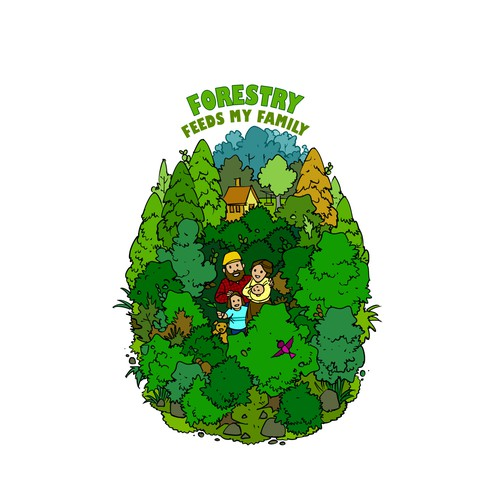 illustrated forestry t-shirt design