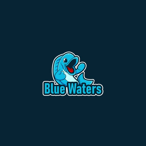 Blue fish mascot for blue waters