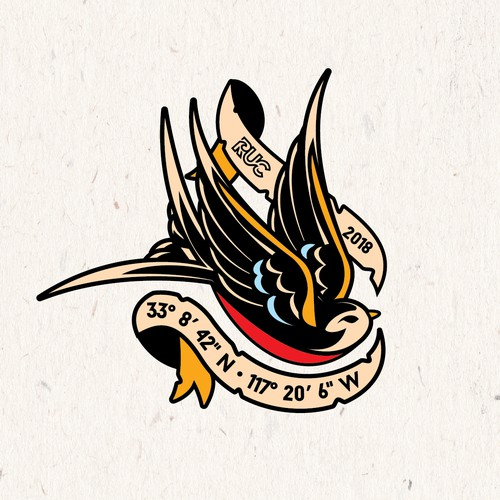 A unique surf apparel company logo with vintage sailor tattoo style