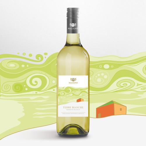 Etichetta creativa e artistica per il vino Terre Bianche