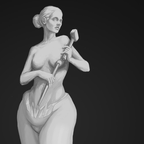 Illustration of Overweight Woman Sculpting/Creating Her Fit Body