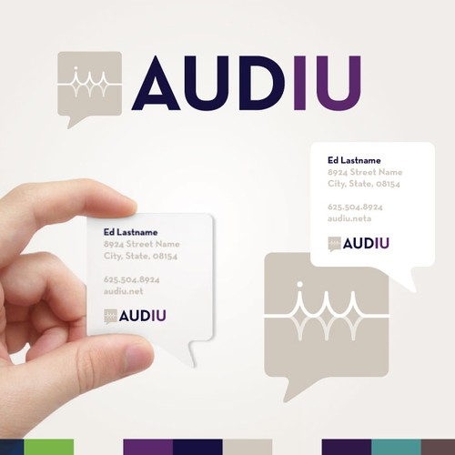 Logo and business card for Audiu