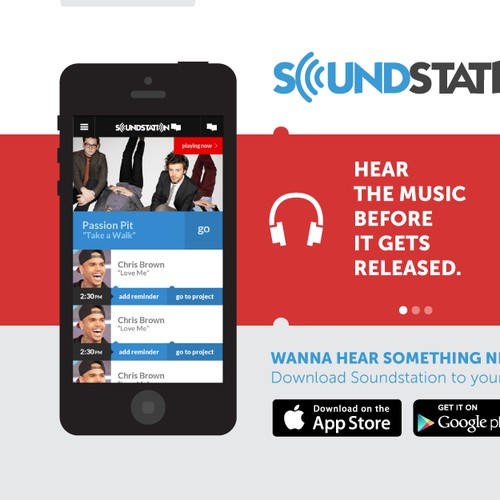 Hot Music Startup! Needs a mobile app landing page [wireframe provided]
