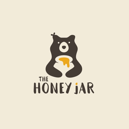 Playful organic logo for the honey jar