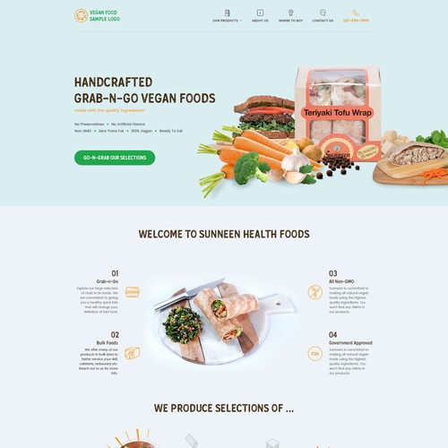 Homepage design for pre-packaged grab n go vegan foods